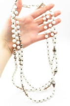 PAULA VALENTINI 925 Silver - Vintage White Jade Beaded Chain Necklace - N2974 - $360.72