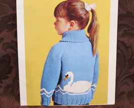 Vintage Mary Maxim Knitting Pattern CHILDRENS Sweater SWAN Sizes 4 - 6 YEARS - $6.95