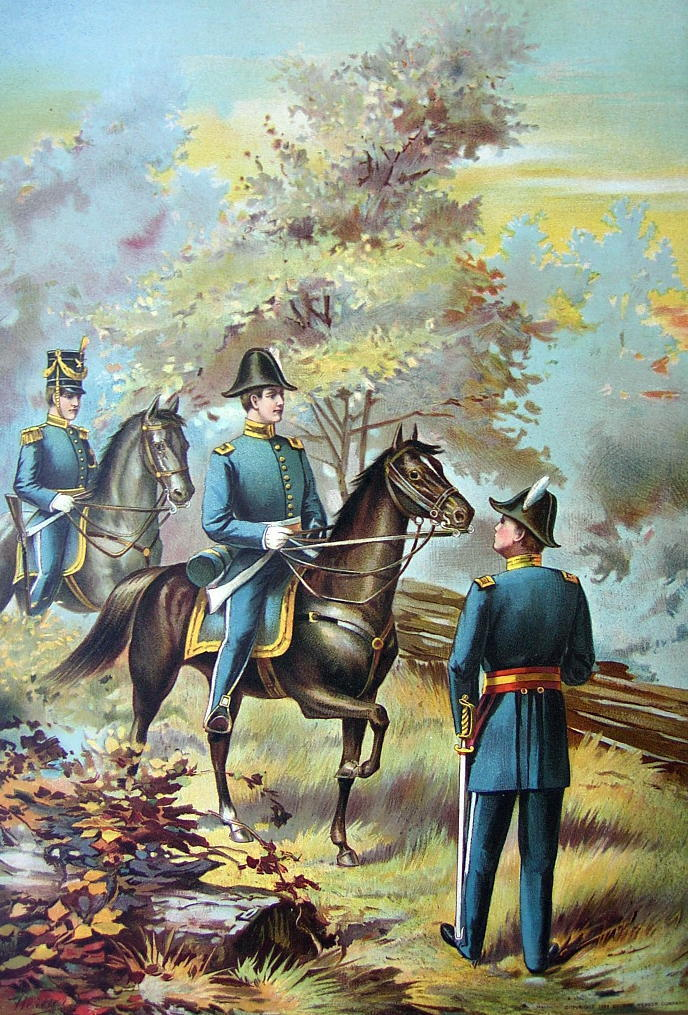US ARMY in 1835 General Officers on Horses - COLOR Litho Print