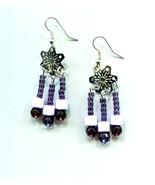 purple earrings chandelier earrings silver snowflake earrings charms dan... - $5.99
