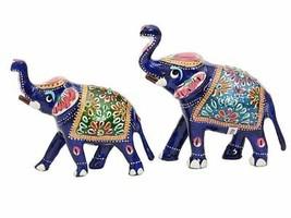 Elephant statue figurine decor hand painted pair 10 x 5 x 10 cm - $48.51