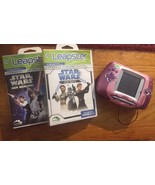 Leapster Pink Leap Frog Lot HandHeld Learning System w/ Batt & 2 Star Wa... - $25.20