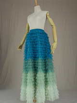 Multi-Color Layered Tulle Skirt High Waisted Tiered Tulle Skirt Outfit image 2