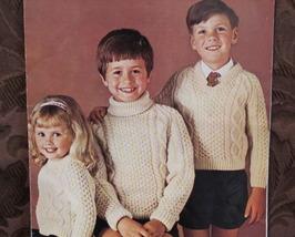 Vintage Bainin Knitting Pattern CHILDRENS ARAN ARRAN Pullover Sweaters  - $4.95