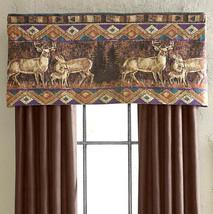 """CROSCILL 2x Chippewa Deer Tailored Valances 54""""W 22""""L New Cabin Hunting ... - $29.58"""