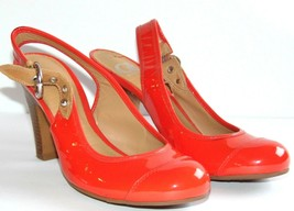 Gianni Bini Orange High Heel Pumps/Shoes with Ankle Strap - Size 6 1/2 M - $0.98