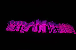 Neon Blacklight Reactive 51 piece Plastic Cutlery Set- Pink - $6.50