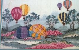 Hot Air Balloons 70034 Candamar Linen Counted Cross Stitch 1988 New Kit ... - $14.84