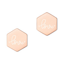 Love Engraved Sterling Silver Hexagon Stud Earrings - $38.50+