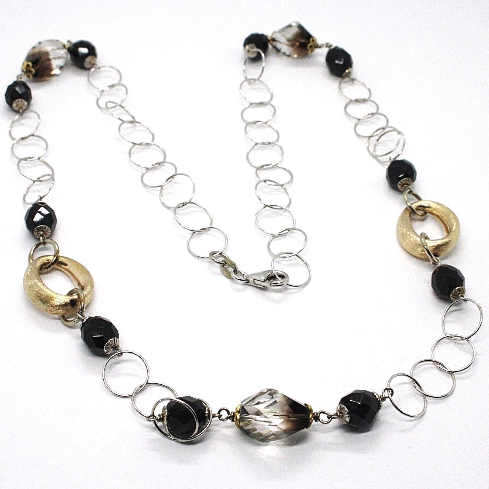 Silver necklace 925, Oval Satin Yellow, Nuggets BICOLOR, Chain Rolo, 60 cm