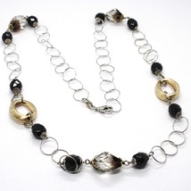 Silver necklace 925, Oval Satin Yellow, Nuggets BICOLOR, Chain Rolo, 60 cm image 1
