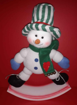 "Snowman Rocker Fabric Christmas Snow Man on Wood Base 15"" - $4.94"