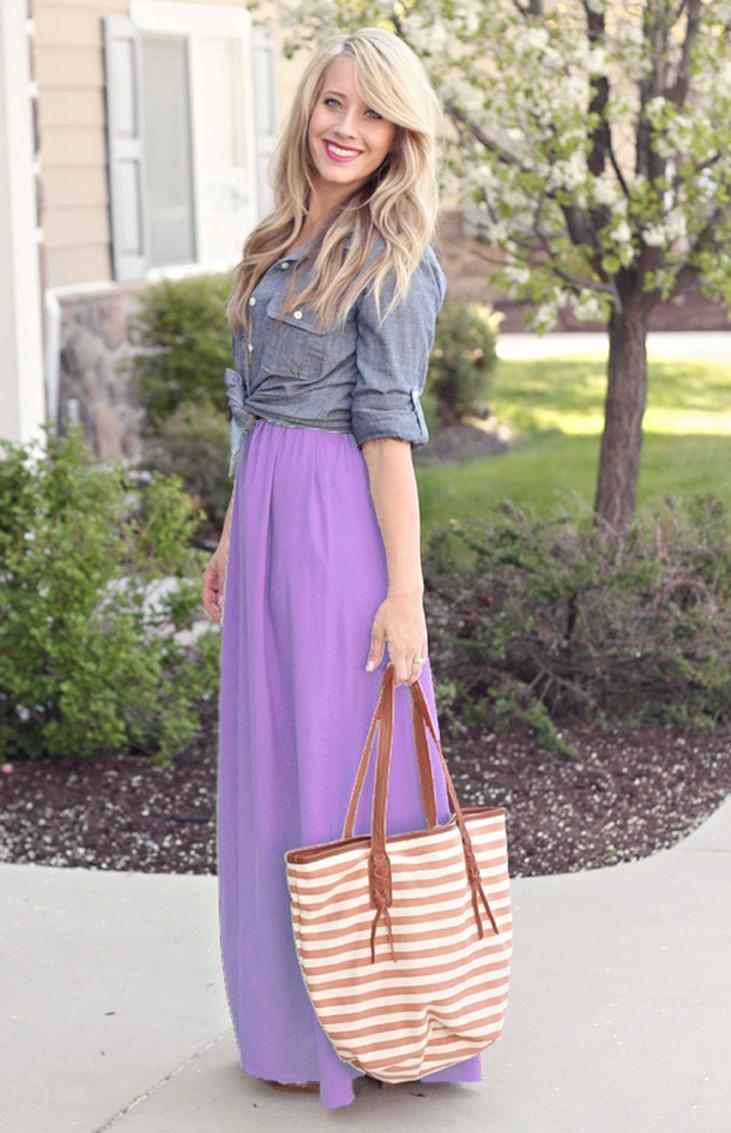 Lavender Chiffon Maxi Skirt. Spring Summer Long Skirt. Purple Skirt - Skirts