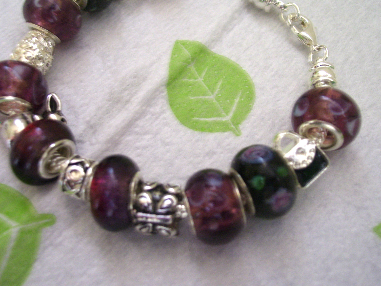 Purple lamp work beaded bracelet
