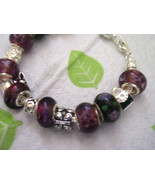 Purple lamp work beaded bracelet - $6.00