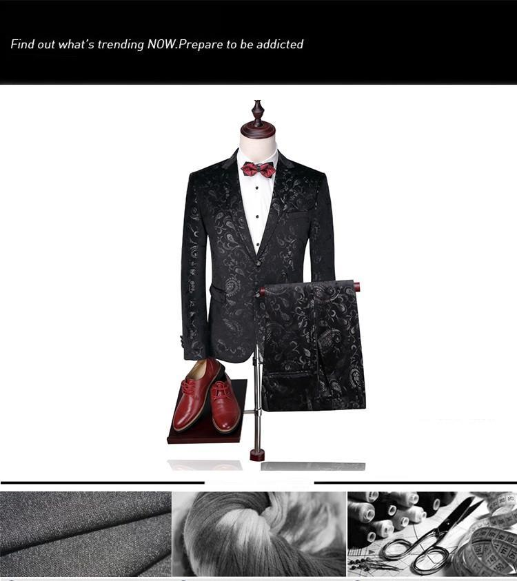 Men Wedding Suit Print Paisley Floral Stage Wear Singer Fashion Slim Fit Blazer