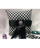 RACING WEDDING PILLOW , Flower Basket, Racing, Ring,  black White, Check... - $26.95