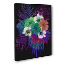 Neon Tropical Flowers Black CANVAS Wall Art Home Décor - $34.65