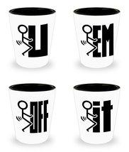 Fuk It,Em,Off,U Vulgar Funny Stickman Shot Glass Mancave Barware Collect... - $50.03 CAD