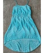 Prospero Women's Summer Dress High Low Flowy Chiffon TEAL & WHITE CHEVRO... - $19.79