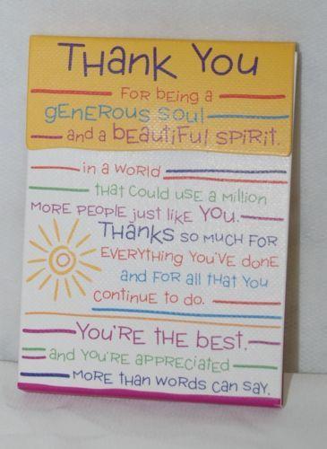 Blue Mountain Arts PNP412 Thank You Generous Soul Notepad