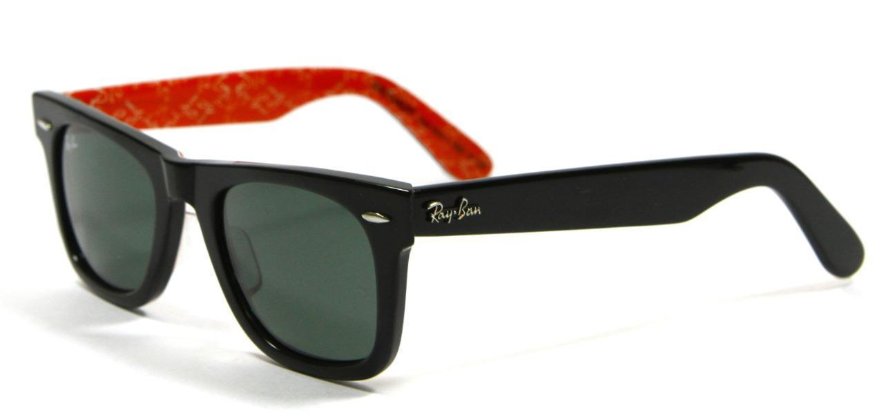 Primary image for Ray Ban 2140 1016 Rare Black&Red Wayfarer Sunglasses 50mm New and Authentic