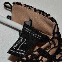 Forever 21 Women's Black Crochet Lace Overlay Open Back Padded Shoulder Dress S image 3