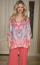 Cover Charge Coral Bay Beaded Embellished Tunic in Aqua & Coral - EXTRA ... - $34.90