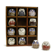 Set of Twelve Hand Painted Pottery OWLS | Wooden Shadow Box | Vintage 19... - $49.45