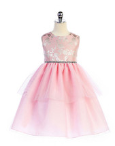 Sweet Pink Embroidered Bodice, Tiered Flower Girl Party Dress, Crayon Ki... - $49.99