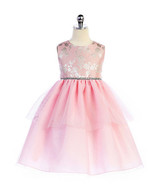 Sweet Pink Embroidered Bodice, Tiered Flower Girl Party Dress, Crayon Ki... - £35.98 GBP