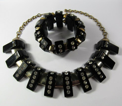 Vintage 1930s Art Deco Black BAKELITE & Rhinestone Necklace Stretch Brac... - $712.80