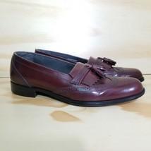 Vintage Bostonian Wingtips Shoes Mens 8D Burgandy Brn Loafer Slip ons Made USA - $13.85