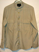 Woolrich Mens Shirt M Medium Tan Button Front Pocket Long Sleeve - $15.95