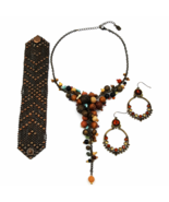 Bohemian Necklace Earring and Bracelet Lot  Faux Turquoise  Wood and Brass Beads - $42.00