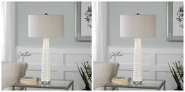 TWO MODERN DESIGNER GLOSS WHITE CRACKLED GLASS BRUSHED NICKEL DETAIL TAB... - $435.60