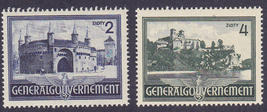 1941 WWII Occupied Poland Tynieck Monastery Set of 2 Stamps Catalog N74-75 MNH