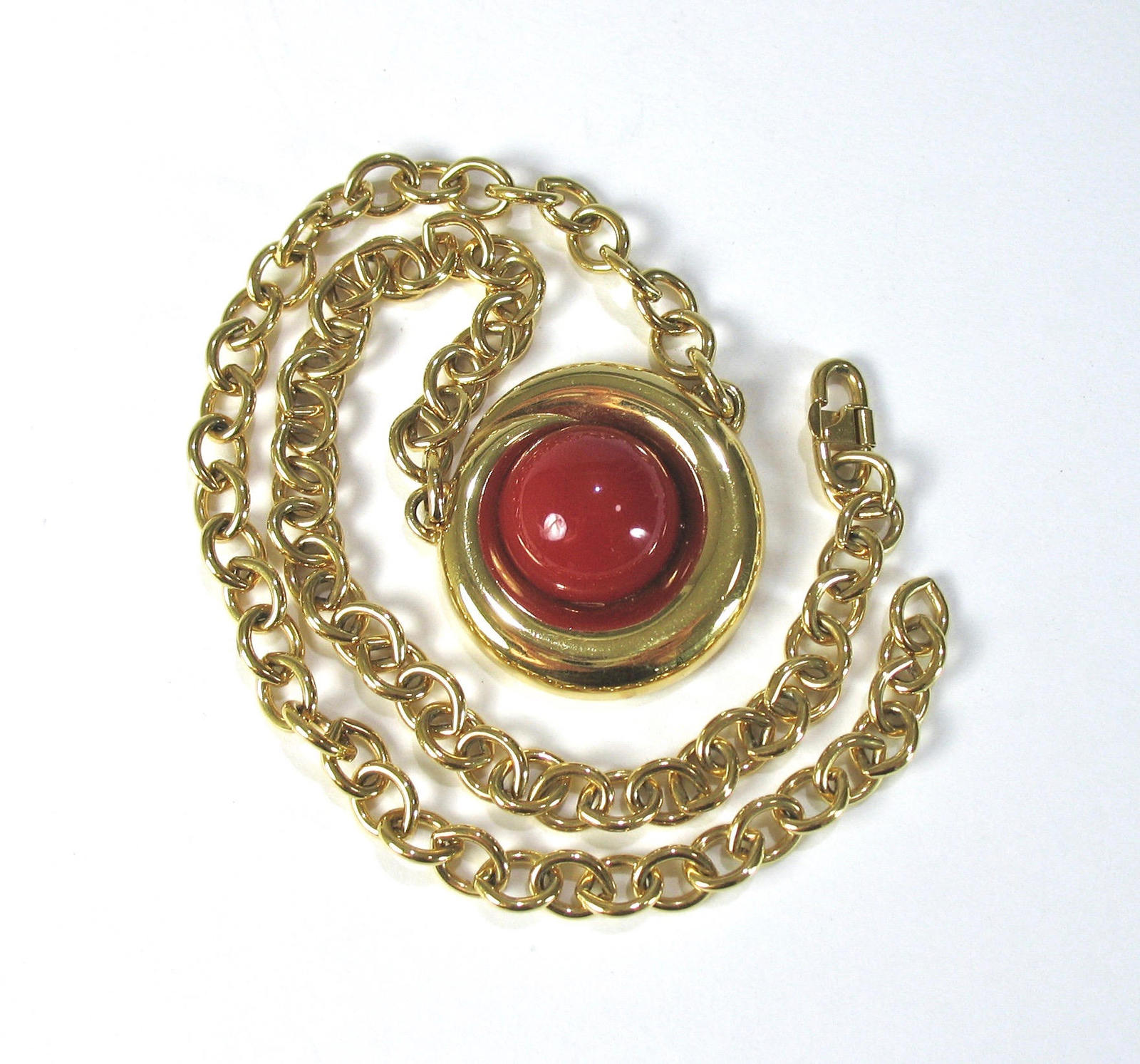 MONET Pendant Necklace, Red Cabochon, Bib Necklace, Heavy Chain, Safety Hook Cla