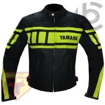 YAMAHA 0120 FLUORESCENT MOTORCYCLE MOTORBIKE ARMOURED COWHIDE LEATHER JA... - $194.99