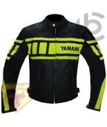 YAMAHA 0120 FLUORESCENT MOTORCYCLE MOTORBIKE ARMOURED COWHIDE LEATHER JACKET - $194.99