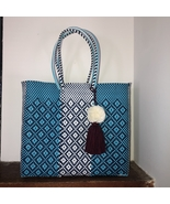 Blue And White beach tote plastic shopping bag handwoven with pom Tassel - $85.00