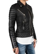 Women black quilted padded brando genuine leather jacket front thumbtall