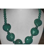 Huge Genuine Turquoise Howlite Hearts/ Beads Necklace - $100.00