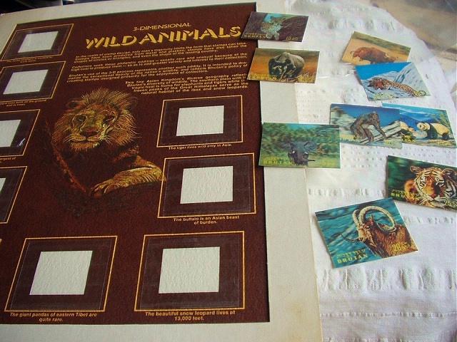 Wildlife BHUTAN'S 9 Unused Dimensional Stamps