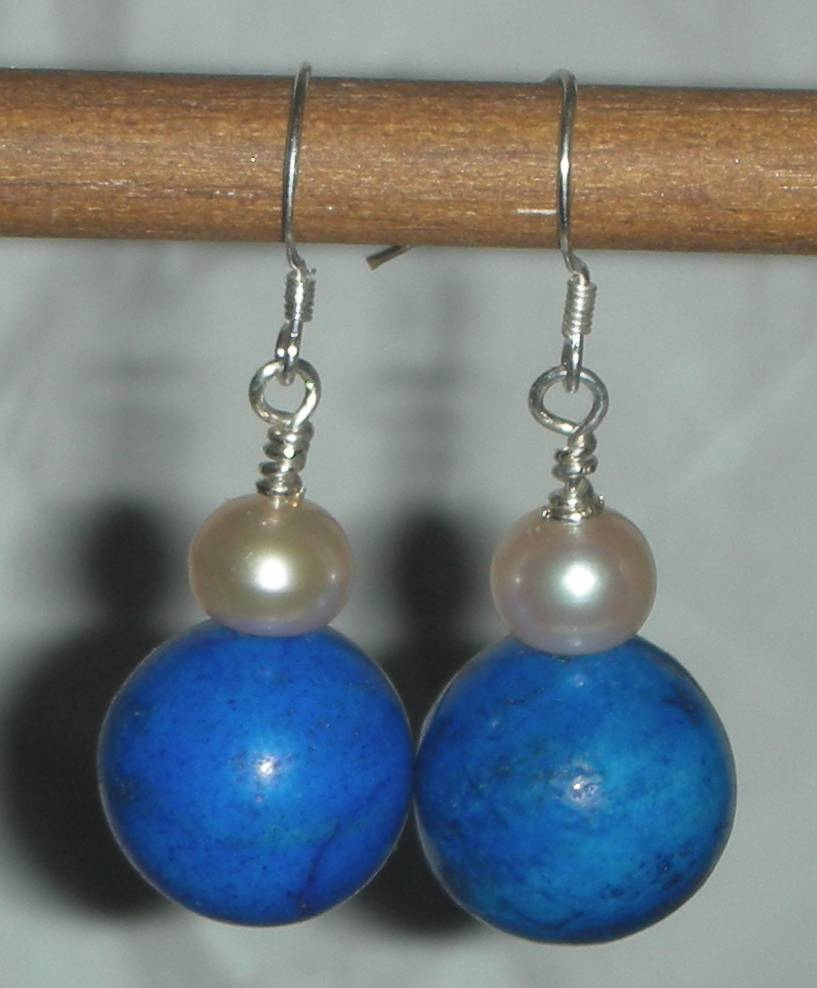Genuine Blue Turquoise Howlite and Pearl Earrings