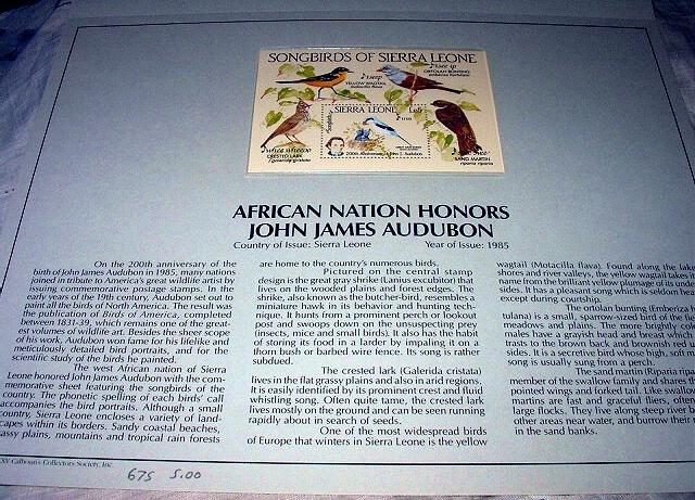 1985 JOHN JAMES AUDUBON-AFRICAN SONGBIRDS SIERRA LEONE