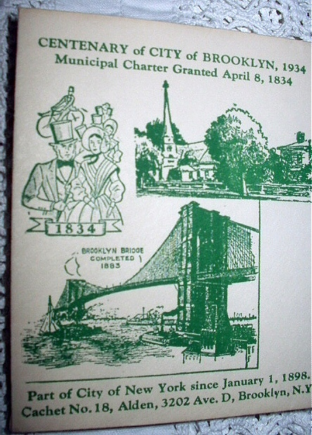1934 CACHET-CENTENARY OF CITY OF BROOKLYN,NY