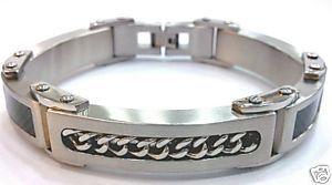 SSB7839 Chain Black Carbon Fiber Stainless Steel Bracelet