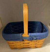Longaberger 1997 Natural Spring Basket Combo Blue Liner and Plastic Prot... - $37.39