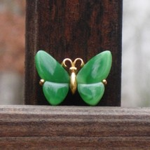 Vintage crown trifari faux jade butterfly figural scatter pin thumb200